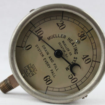 Vintage Mueller Heating Systems 60 PSI Steam Pressure Gauge, U.S. Gauge Co. NY