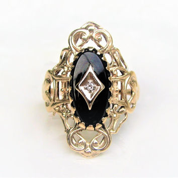 Vintage Onyx Ring 10K Yellow Gold Scroll Filigree Ring Diamond Accent Navette Ring Size 7