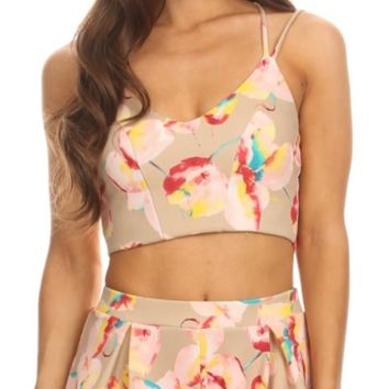 Zane Flower Printed Crop Tank Top