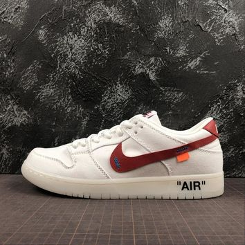 OFF WHITE x Nike SB Zoom Dunk Low Pro White Red Sport Shoes - Be aa4dcb801