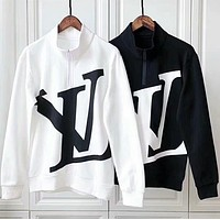 """Louis Vuitton"" Autumn Winter Fashion Women Men Casual LV Letter Print Long Sleeve Sweater Pullover Top Sweatshirt White"