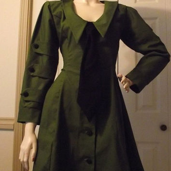 Dieselpunk Aline Dress Retro Army Military Green by MGDclothing
