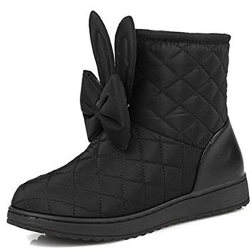 IDIFU Women's Sweet Bowknot Flat Faux Fur Lined Thick Ankle Snow Boots Winter Down Booties