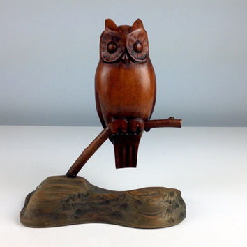 1960s Teak Owl Figure, Wood Owl for Home Decor, Mid Century Modern Home Design