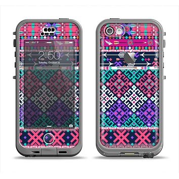 The Pink & Teal Modern Colored Aztec Pattern Apple iPhone 5c LifeProof Nuud Case Skin Set