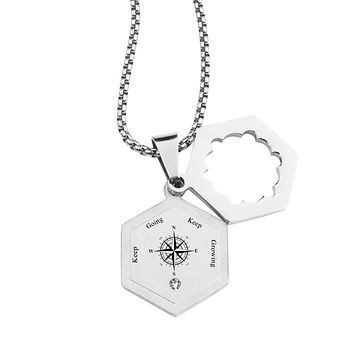 Life Compass Double Hexagram Necklace with Cubic Zirconia by Pink Box - KEEP GROWING