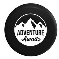 Adventure Awaits Mountain Scene Stamp Style RV Camper Jeep Spare Tire Cover