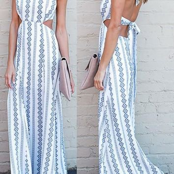 White Floral Print Tie Back Draped Backless Halter Neck Bohemian Maxi Dress