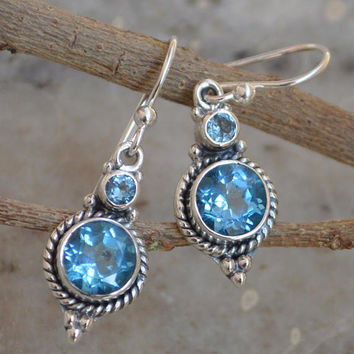 Blue Topaz Earrings 92.5 % Sterling Silver Topaz Earrings Topaz Jewellery Faceted blue topaz earrings November Birthstone Topaz Gemstone Ear