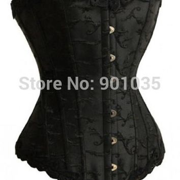 Free shipping A1221-1 Black Satin Lace Up Corset Boned Corset Bustier  plus size corset size S-6XL