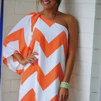 Wild Wide One Shoulder Chevron Dress: Coral | Hope's