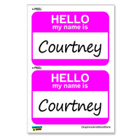 Courtney Hello My Name Is - Sheet of 2 Stickers