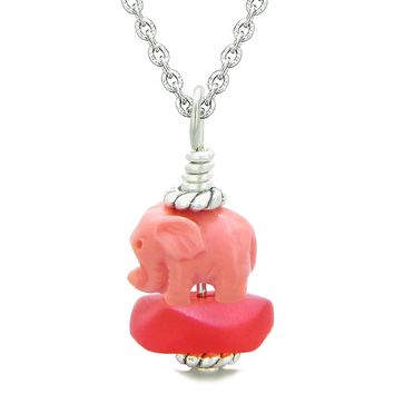 Sea Glass Royal Red Frosted Cloud Pink Elephant Lucky Charm Magic Amulet Pendant 18 Inch Necklace