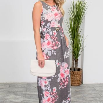 Sasha Floral Grey Maxi Dress