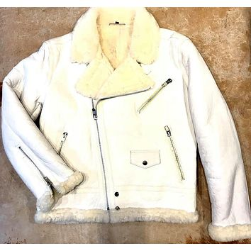 Jakewood - Shearling Racing Aviator White Jacket