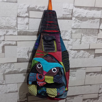 Nepali Backpack/Rucksack, Qwl, Hippie Backpack Patchwork Design Ethnic, Colorfull Schoolbagm, 2in1 backpck&Crosbody