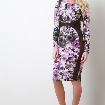 Floral Abstract Semi-Sheer Bodycon Dress