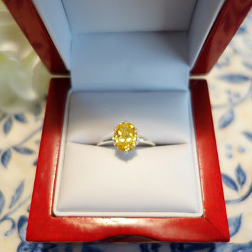 2 Carat Oval Engagement Ring, Man Made Canary Yellow Diamond, Wedding, Promise Ring, Birthstone, Bridal, Sterling Silver, 14k Gold Option