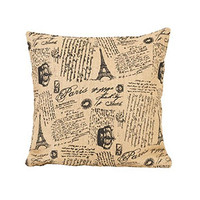 Paris French Script - French Flea Market Burlap Throw Pillow- 16-in x 16-in
