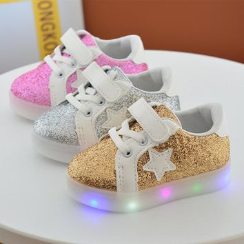 Baby Girls Fashion soles toddle LED Shoes Kids Light Up Glowing Sneakers Little Girls