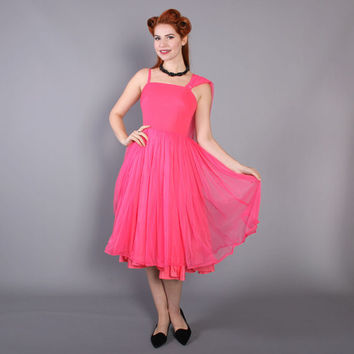 50s Shocking Pink Cocktail DRESS / 1950s Chiffon Full Skirt Party Dress, xs