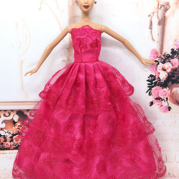 NK One Pcs Princess Doll Wedding Dress Noble Party Gown For Barbie Doll Fashion Design Outfit Best Gift For Girl' Doll 032A