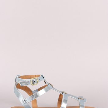 Qupid Metallic Strappy Gladiator Flat Sandal