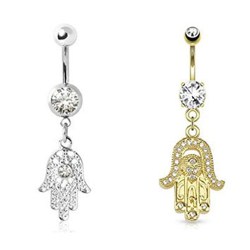 (2pcs) Shining Gold Plated Gemed Hamsa & Clear CZ Hamsa Amulet Dangle Navel Ring 14G
