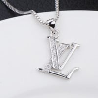 LV Louis Vuitton Popular new diamond pendant necklace jewelry women Silver