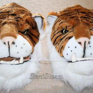 Licensed cool BIG REAL LIFE JUNGLE BENGAL TIGER SLIPPERS FANGS TEETH Plush ADULT XL 13/14 NWT