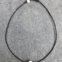 Single Pearl Choker Necklace - Brown