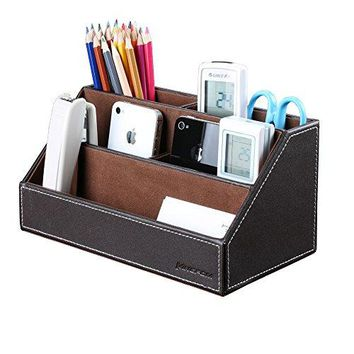 KINGFOM Home Office Wooden Struction Leather Multi-function Desk Stationery Organizer Storage Box, Pen/Pencil ,Cell phone, Business Name Cards, Note Paper, Remote Control Holder (brown)
