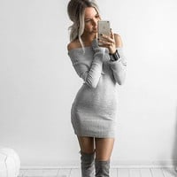 Winter Slim Long Sleeve Sweater Strapless Dress One Piece Dress [6377192580]
