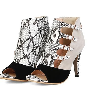 Hot style suede open-toe boots with snake-print sexy cool boots shoes