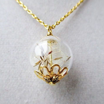 Dandelion Seed Glass Orb Terrarium Necklace, Small Orb In Silver or Gold, Bridesmaid Gifts, Romantic Hipster Jewelry