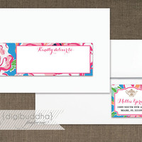 Lilly Pulitzer Inspired Envelope Wrap Address Label Preppy Blue Lucky Charm Floral Shabby Chic PDF Wraparound DIY Address Labels- Millie