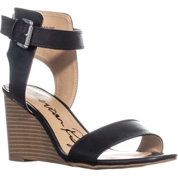 AR35 Aislinn Ankle Strap Wedge Sandals, Black, 7 US