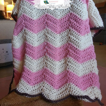 Crocheted Chevron Baby Blanket - Pink, Cream & Brown Infant Blanket or Toddler Lap Blanket Throw Ready to Ship!