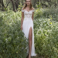 Summer Style 2017 White Long Chiffon Beach Wedding Dresses Sexy High Split Lace Bridal Wedding Gowns Boho Vestido De Noiva