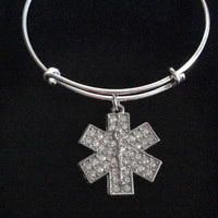 EMT, Paramedic, EMT, EMS, Medical Crystal Silver Charm Bracelet Expandable Adjustable Silver Wire Bangle