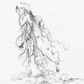 Pencil Drawing Fairy Art Heartbroken Archival Giclee Print of my Original Pencil Drawing, Fairy Fine Art, Hurricane Relief