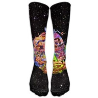 Cool Rick And Morty Long Dress Socks Breathable Football Socks Over The Calf Tube