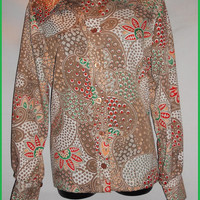 Vintage 70s 80s Laura Mae Life Press Psychedelic Floral Geometric Brown Red All Over Print Button Up Blouse Long Sleeve Shirt