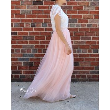 Claire Pink Blush Soft Tulle Skirt - Maxi