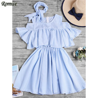 ROMWE Summer Open Shoulder Fluted Sleeve Striped Frill Dress With Ribbons Womens Blue Short Sleeve Cute A Line Dress