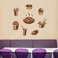 ik1470 Wall Decal Sticker fast food fresh Cola hamburger cheeseburger hot dog pizza snack fast food