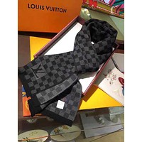 LV Louis Vuitton Winter Popular Men Women Black Check Cashmere Cape Scarf Scarves Shawl Accessories