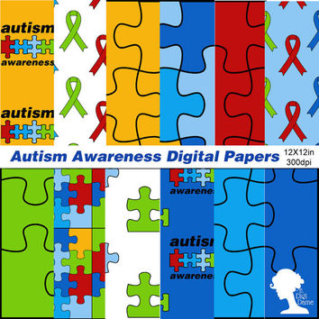Digital Papers: Autism Awareness - Proceeds to Charity - with Jigsaw Puzzle Pieces and Autism Charity Ribbons in Blue, Red, Yellow and Green