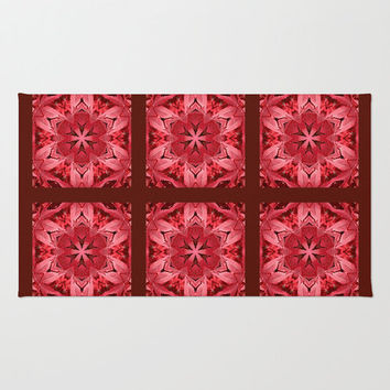 Mandala area rug, red, burgundy, brown Japanese maple leaves, all occasion gift, home decor, living room, bedroom