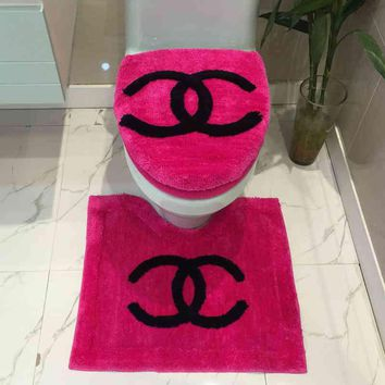 CHANEL Bathroom Set Toilet Set Cover U Bath-Mat 3pcs Set Toilet Seat Cushion
